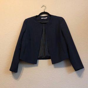 ASOS cropped navy collarless blazer size 12